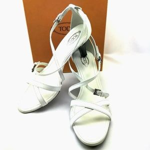 TOD'S Italian Patent Leather Sandals in White
